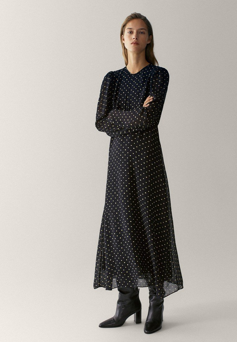 Massimo Dutti - MIT TUPFEN  - Maxi dress - black