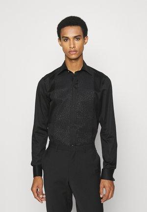 Slim Fit - Glitter Evening Piqué Shirt  - Overhemd - black