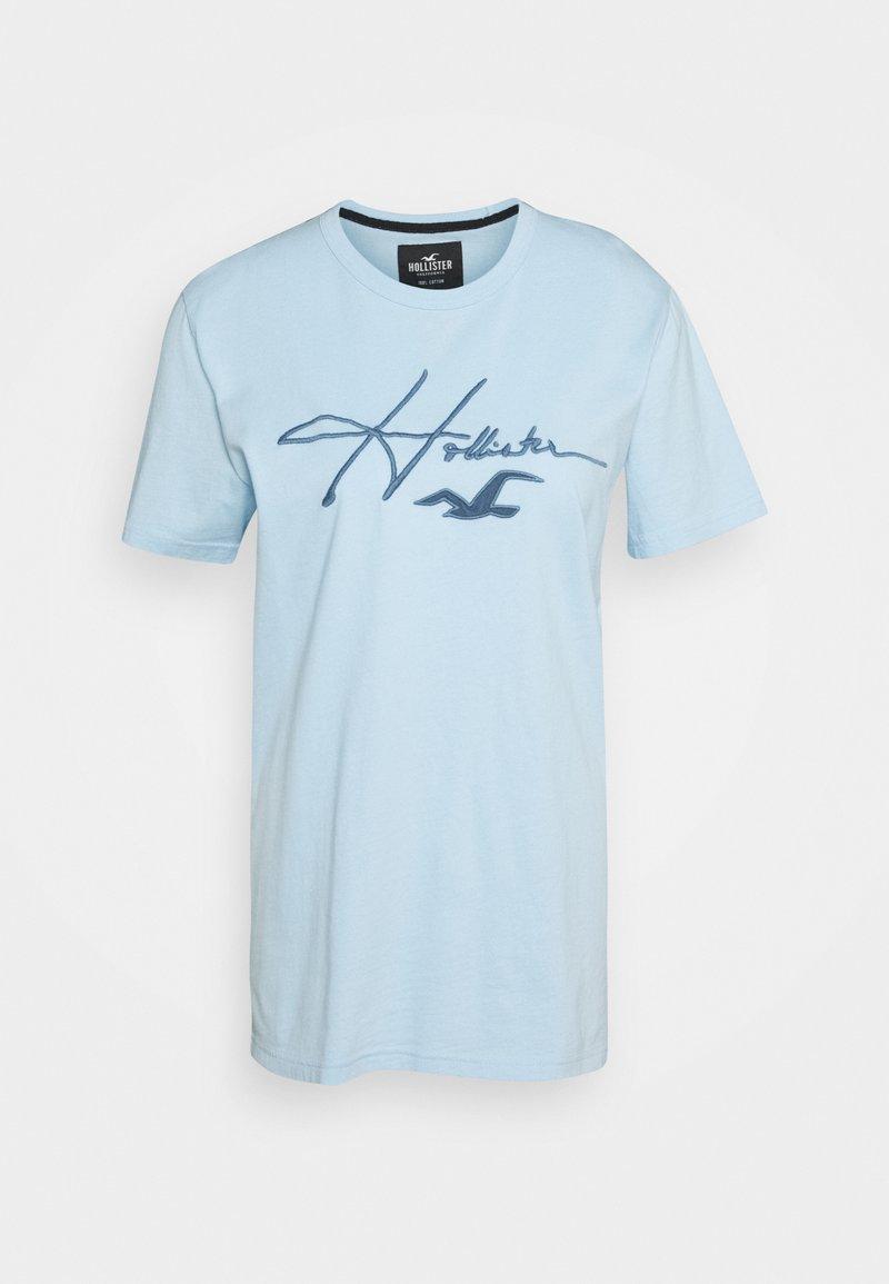 Hollister Co. - TECH MICRO SCRIPT - Triko spotiskem - mid blue