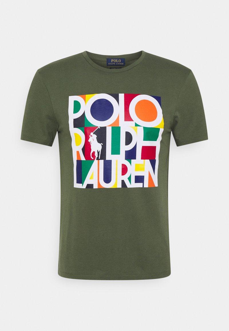 Polo Ralph Lauren - CUSTOM SLIM FIT LOGO JERSEY T-SHIRT - T-shirt z nadrukiem - army