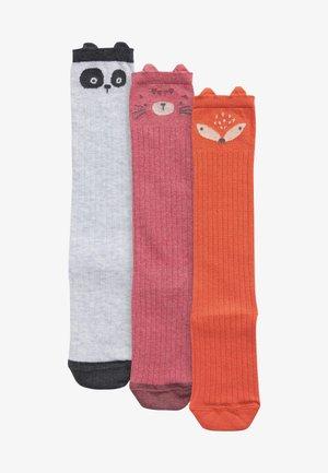 3 PACK - Over-the-knee socks - black/pink/orange