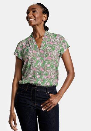 Print T-shirt - grün lila pink druck