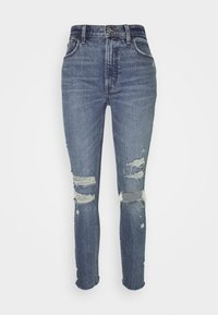Abercrombie & Fitch - HIGH RISE - Jeans Skinny Fit - dark destroy - 3
