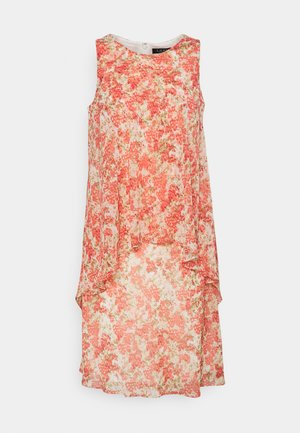 PRINTED GEORGETTE DRESS - Korte jurk - cream/coral