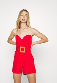 Missguided - BANDEAU PLUNGE BELTED PLAYSUIT - Tuta jumpsuit - red - 0