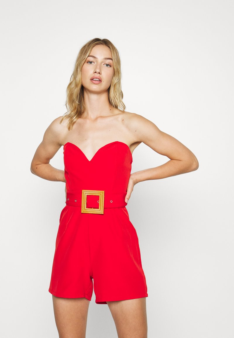 Missguided - BANDEAU PLUNGE BELTED PLAYSUIT - Tuta jumpsuit - red