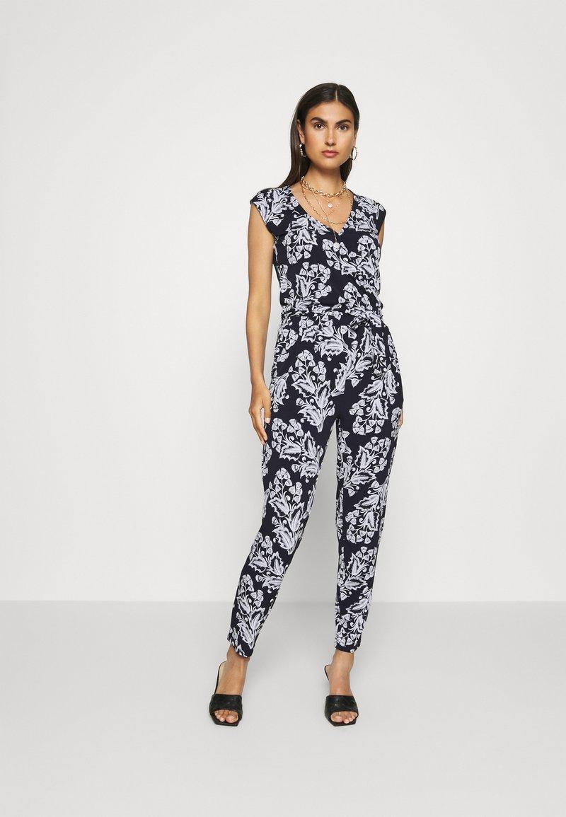 comma - OVERALL - Jumpsuit - dark blue/white