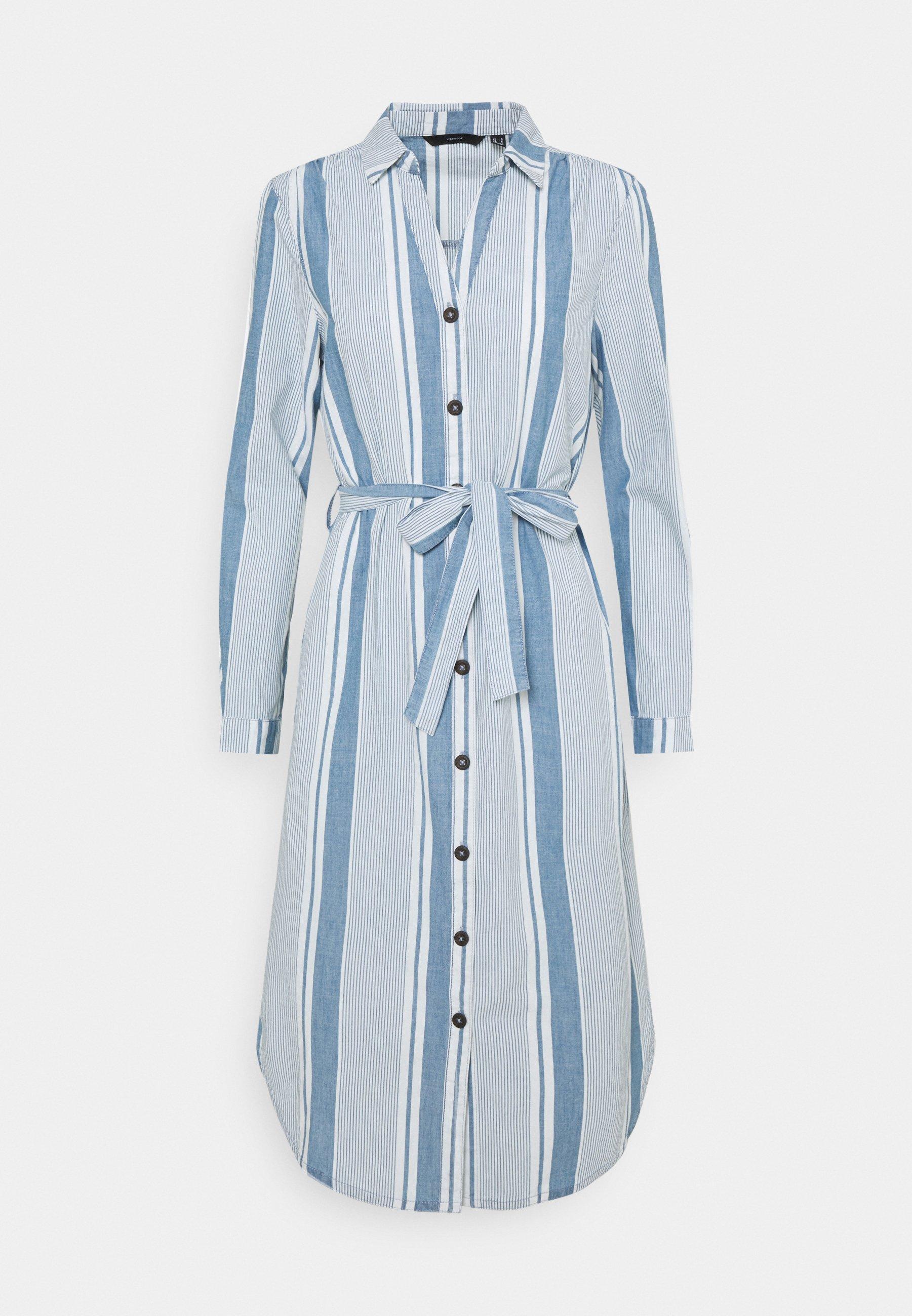 Femme VMAKELA CHAMBRAY LONG SHIRT DRES - Robe en jean