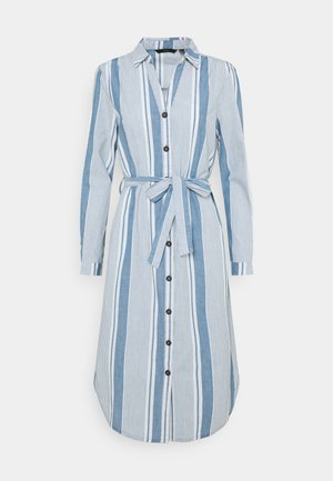 VMAKELA CHAMBRAY LONG SHIRT DRES - Denim dress - light blue denim/white