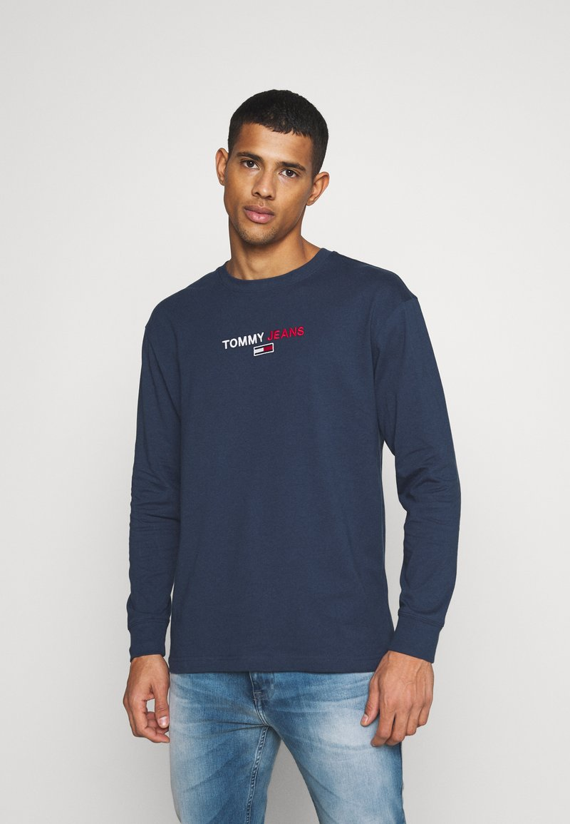 Tommy Jeans - CONTRAST LINEAR  - Long sleeved top - twilight navy