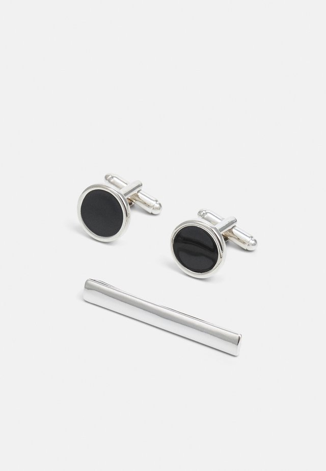 CIRCLE CUFFLINK AND TIE PIN SET - Manschettenknopf - black