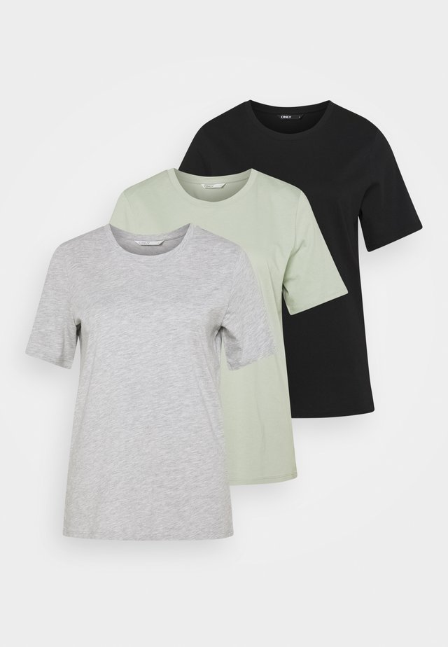 ONLONLY LIFE 2 PACK - T-shirt basic - light grey melange/black