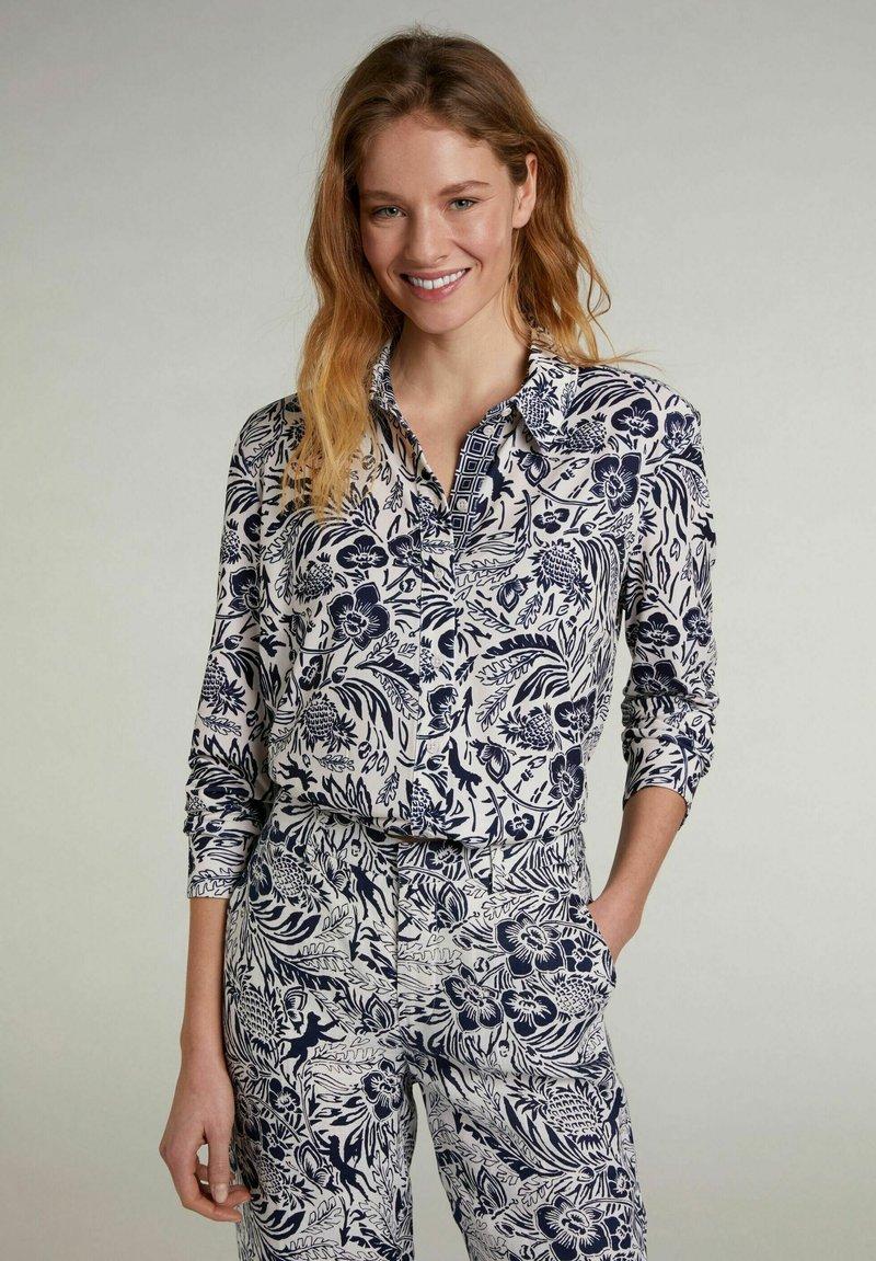 Oui - Button-down blouse - white blue