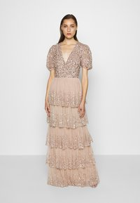 Maya Deluxe - WRAP FRONT PUFF SLEEVE TIERED MAXI DRESS - Gallakjole - taupe blush - 0