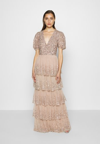 WRAP FRONT PUFF SLEEVE TIERED MAXI DRESS