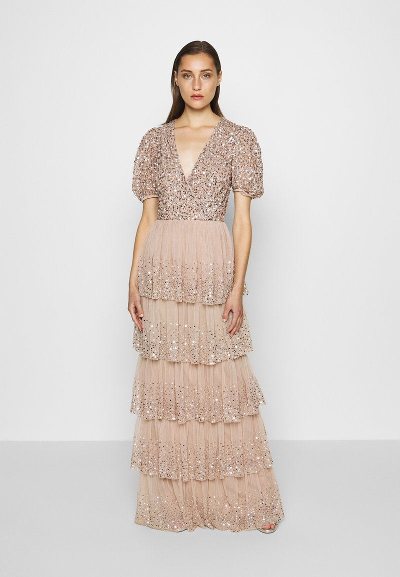 Maya Deluxe - WRAP FRONT PUFF SLEEVE TIERED MAXI DRESS - Gallakjole - taupe blush