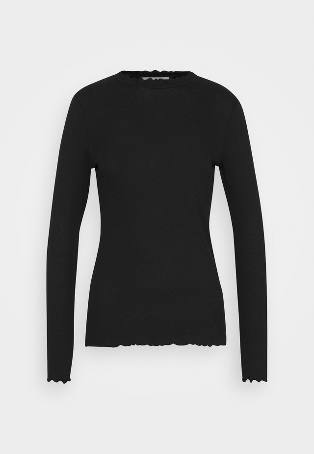 LONGSLEEVE WITH FRILLED EDGES - Long sleeved top - deep black