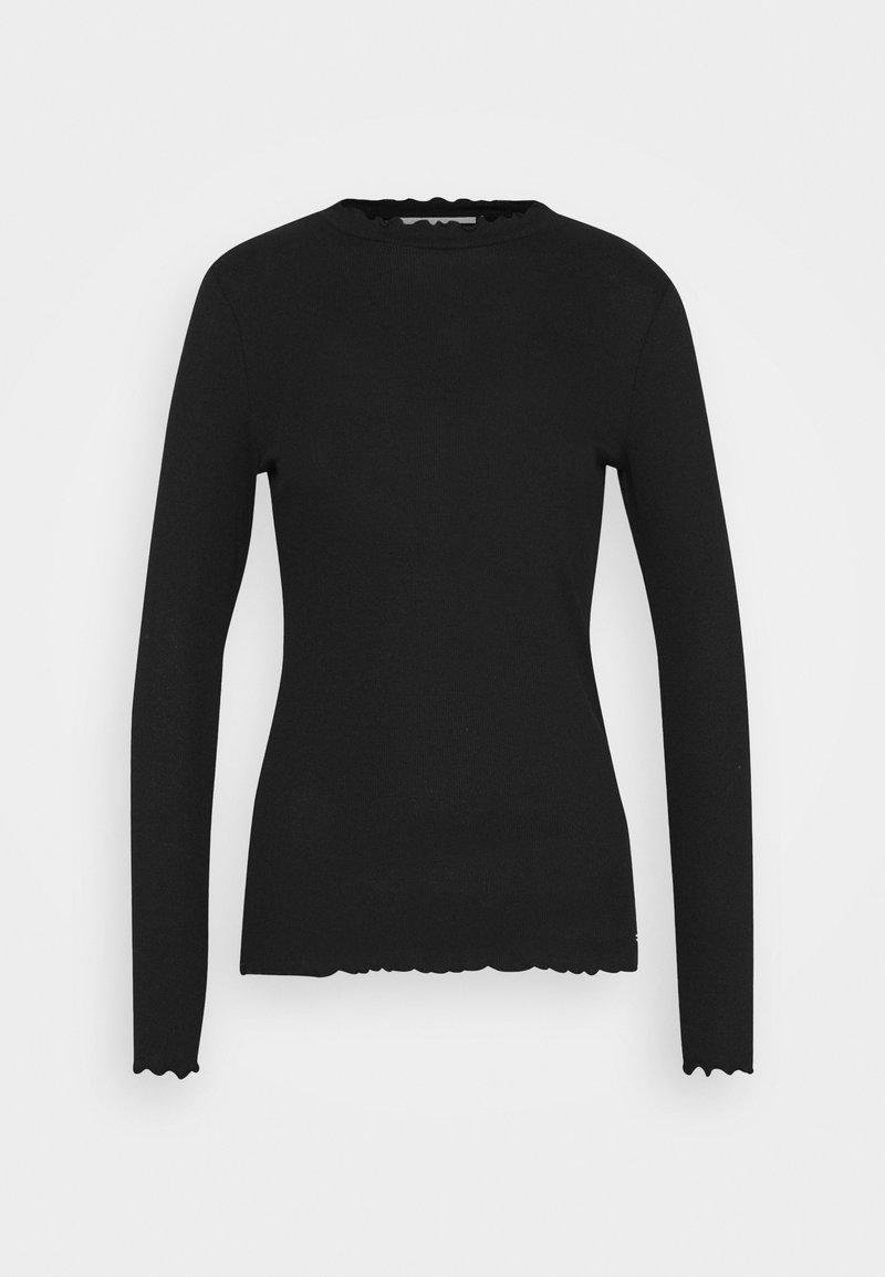 TOM TAILOR DENIM - LONGSLEEVE WITH FRILLED EDGES - Long sleeved top - deep black