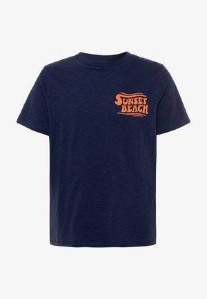 BOY FRONT BACK TEE - Print T-shirt - military blue