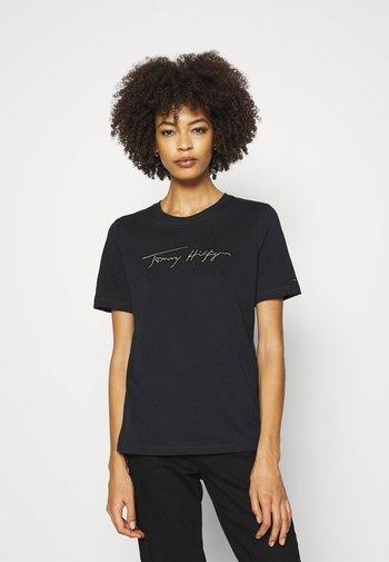 REGULAR OPEN SCRIPT TEE - T-shirts med print - black