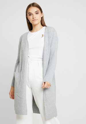 VMDOFFY LONG OPEN CARDIGAN - Gilet - light grey melange