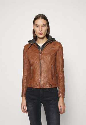CACEY - Leather jacket - cognac