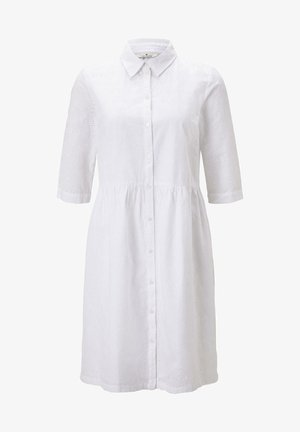 MIT LOCHSTICKEREI - Shirt dress - white