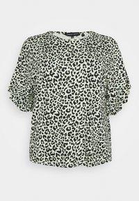 CAPSULE by Simply Be - BOXY RUFFLE SLEEVE  - Print T-shirt - black/green - 0