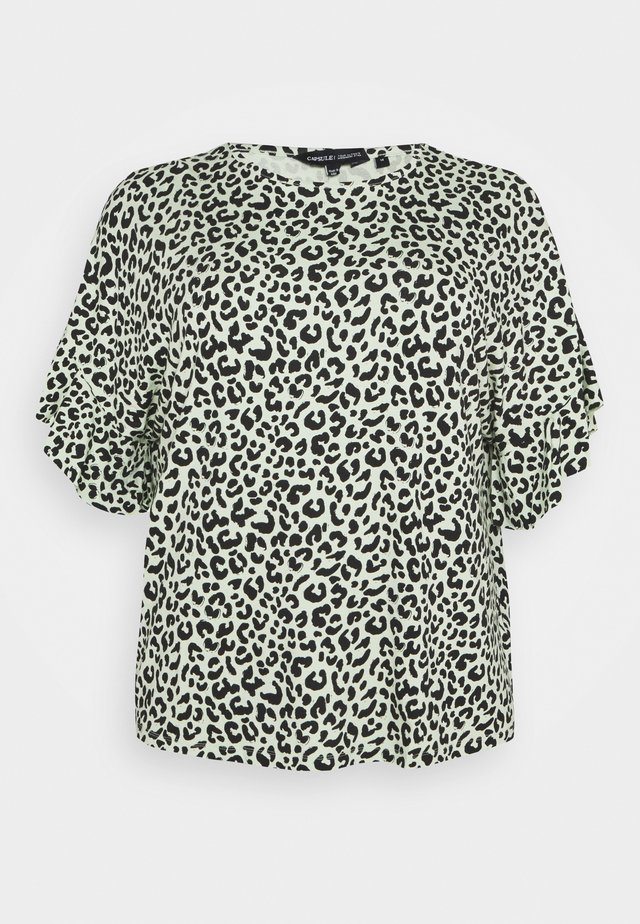 BOXY RUFFLE SLEEVE  - Print T-shirt - black/green