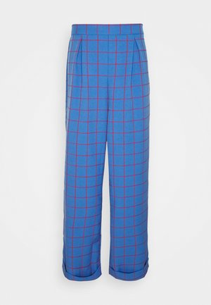 WIDE LEG CHECKED TROUSER - Trousers - blue