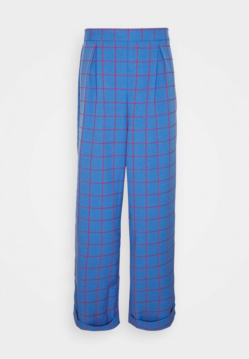 Vintage Supply - WIDE LEG CHECKED TROUSER - Pantalon classique - blue
