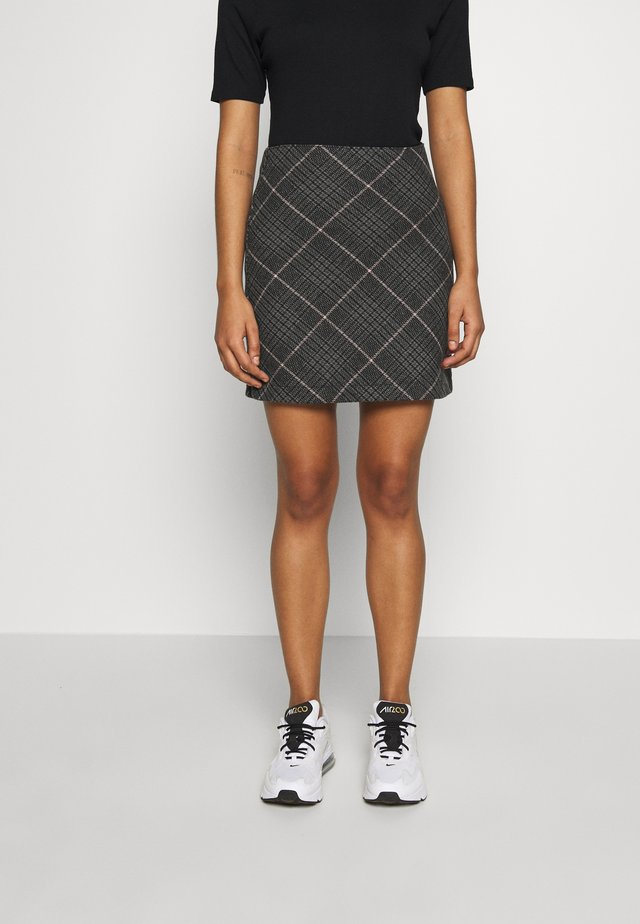 PLAID STRUCTURED - Mini skirt - red/white