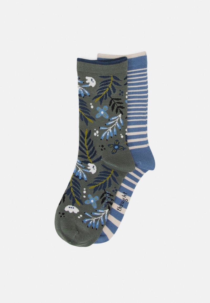 Thought - NELLY FLORAL SOCKS JACINDA STRIPE SOCKS 2 PACK - Ponožky - sage green/powder blue