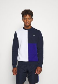 Lacoste Sport - BLOCK - Sweater - white/navy blue/cosmic - 0
