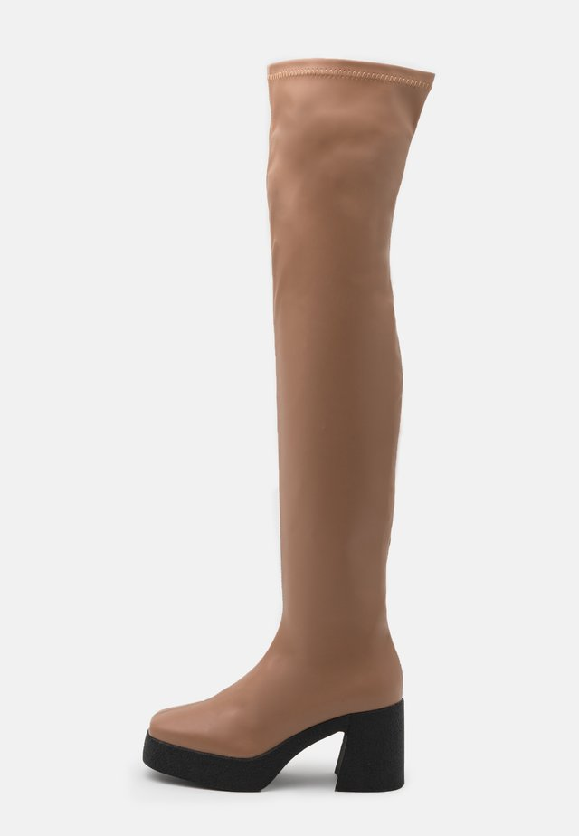 ZAZA PLATFORM BOOT - Over-the-knee boots - tan smooth