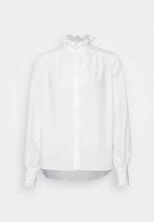 RUFFLE BLOUSE - Button-down blouse - bright white