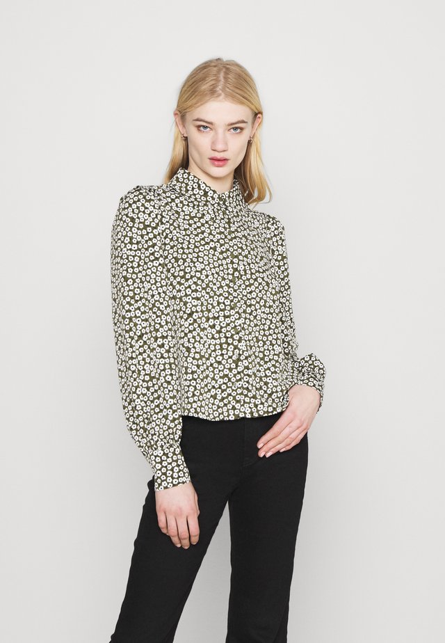 NALA BLOUSE - Button-down blouse - black dark minibloom dark