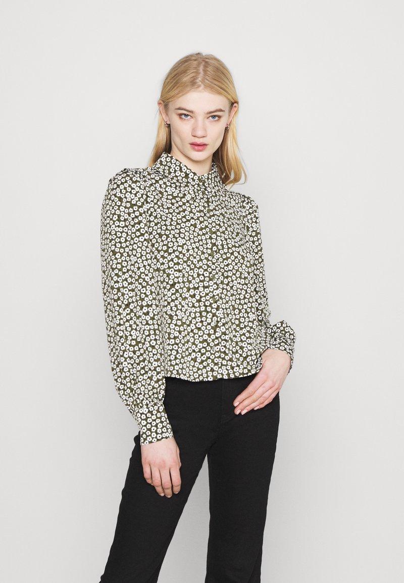 Monki - NALA BLOUSE - Button-down blouse - black dark minibloom dark