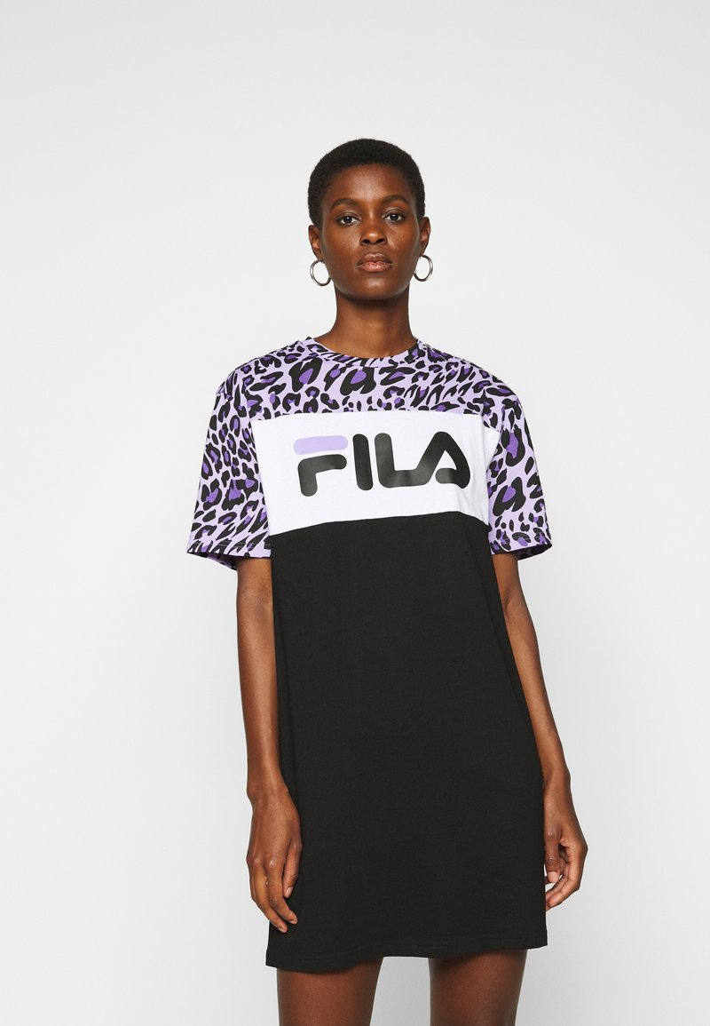 Fila Tall - ALLI TEE DRESS - Jersey dress - black/sand verbena/bright white