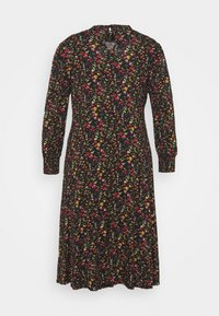 Dorothy Perkins Curve - SHIRRED NECK MIDI FLORAL - Day dress - black - 1