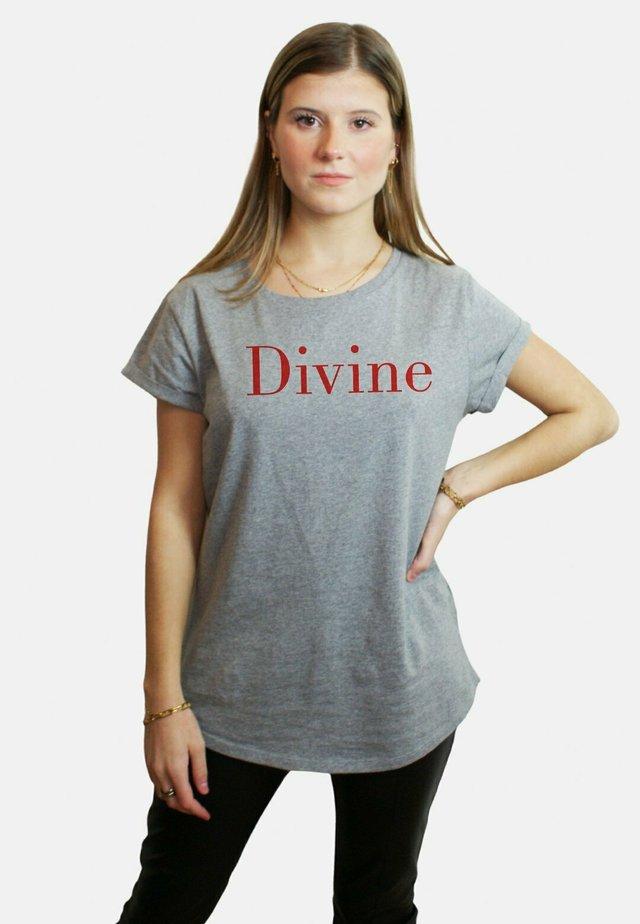DIVINE LARGE WTSRU - T-shirt print - mottled grey