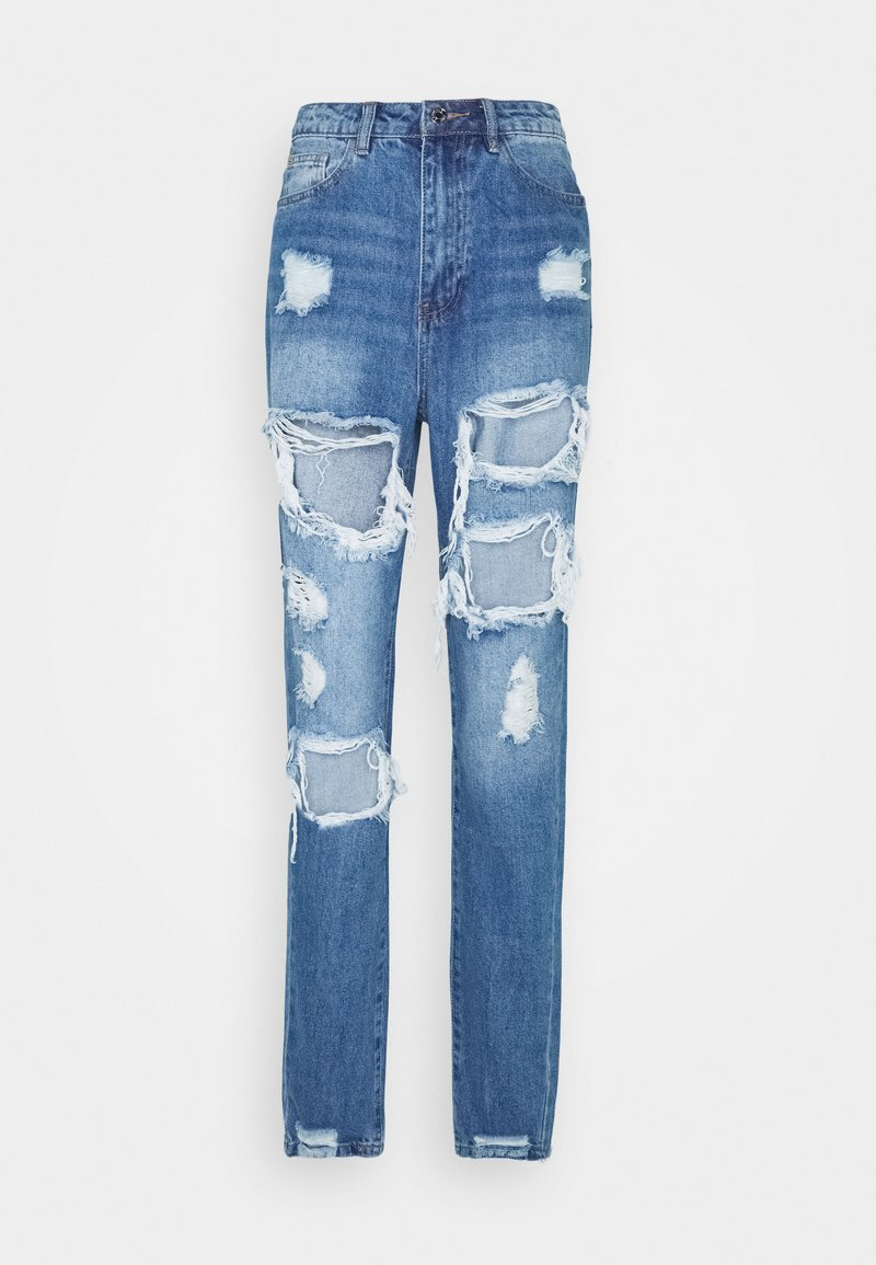 Missguided Tall - RIOT HIGH RISE RIPPED  - Relaxed fit jeans - blue