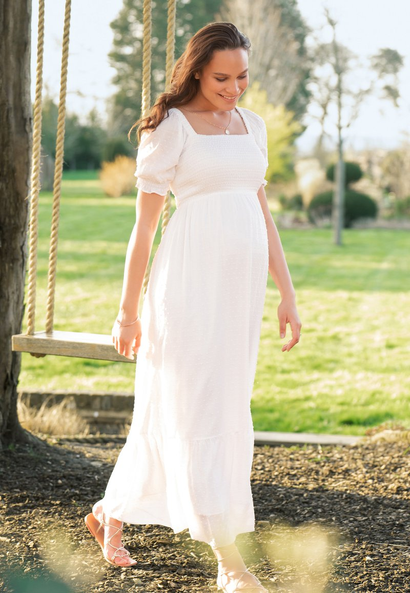 Seraphine - SHIRRED MATERNITY - Maxi dress - white