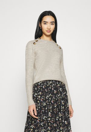 VINORA BUTTON - Jumper - natural melange