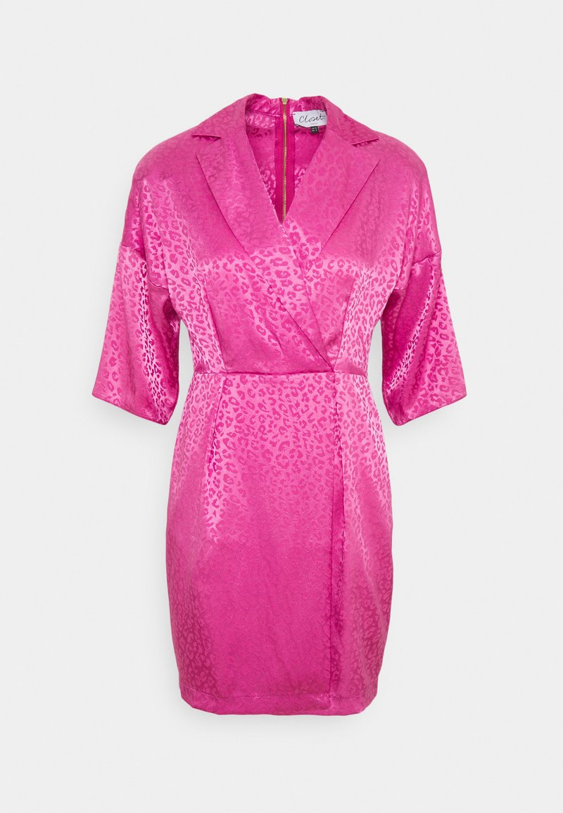 Closet - CLOSET WRAP MINI PENCIL DRESS - Vestido de cóctel - pink