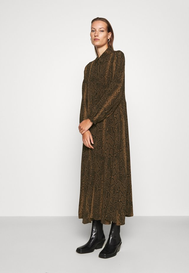 DRESS - Shirt dress - brown medium dusty