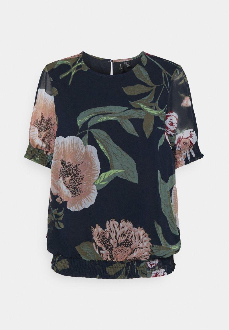 Vero Moda - VMKATNISS SMOCK - Print T-shirt - navy blazer/katniss