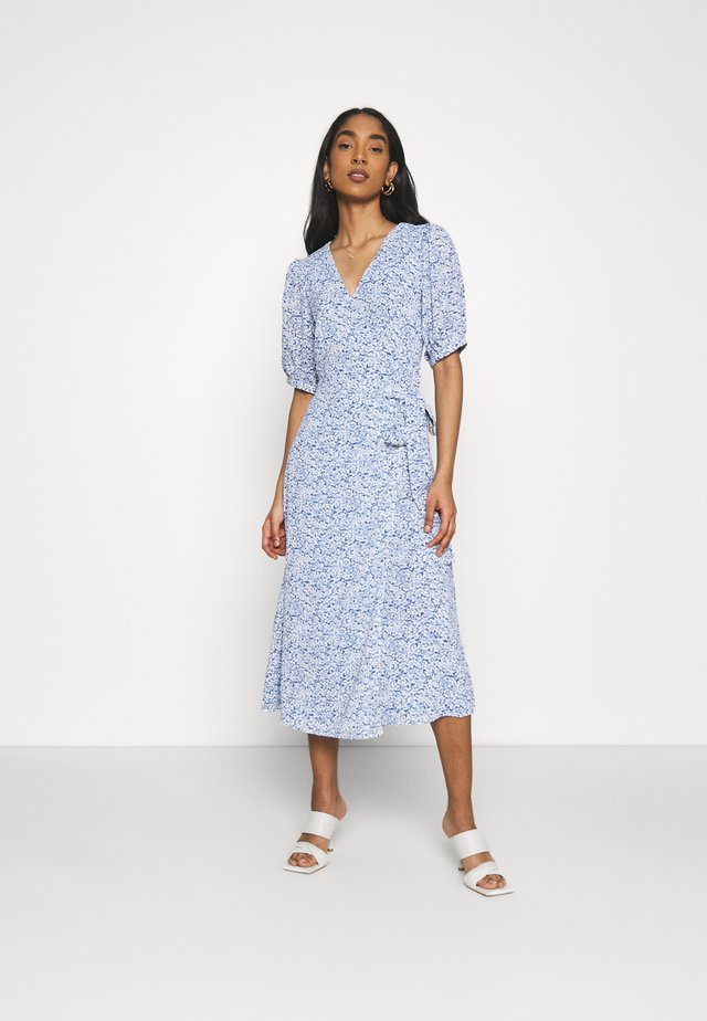 WRAP AROUND MIDI DRESS WITH TIE DETAIL AND SLEEVES - Day dress - blue