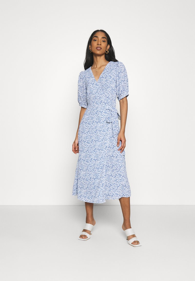 Glamorous - WRAP AROUND MIDI DRESS WITH TIE DETAIL AND SLEEVES - Day dress - blue