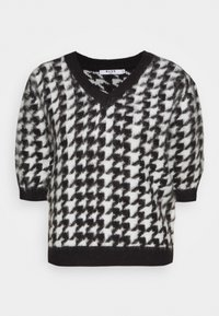 NA-KD - HOUNDSTOOTH SHORT BALLOON SLEEVE SWEATER - T-shirt imprimé - black/white - 0